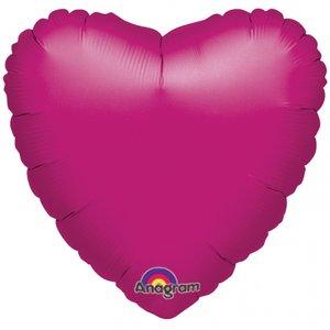 Folieballong - Hjärta Magenta 45 cm