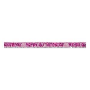 40-års födelsdagsbanderoll - rosa - 3,6m