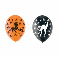 Halloweenballonger katter och häxor - 28 cm latex - 6 st