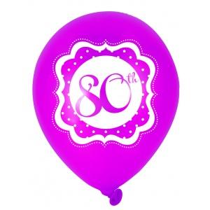 80-års födelsedagsballonger perfectly pink- 25 cm latex - 6 st