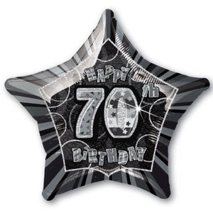 Stjärnformad folieballong svart för 70-årsdagen - 51 cm