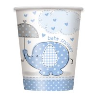 Pappersmuggar - Baby shower blå - 27 cl 8 st