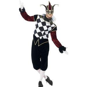 Gotisk venetiansk Harlequin man maskeraddräkt