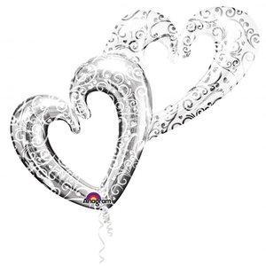 Folieballong - Interlocking Hearts Silver