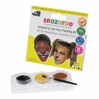 Snazaroo leopard & lejon ansiktsmålningssats - 10 ansikten