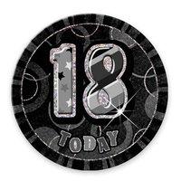 Födelsedagsknapp till 18-årsdagen svartvit - 15 cm
