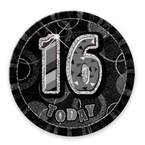 Födelsedagsknapp till 16-årsdagen svartvit - 15 cm