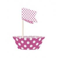 Cupcake kit - Rosaprickiga 24 st