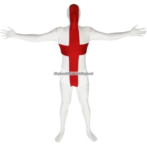 Morphsuit maskeraddräkt engelska flaggan - medium
