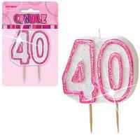 40-års födelsedagsljus - rosa