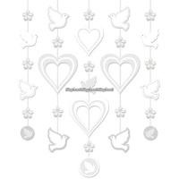Hängande dekoration på snöre - vit (5 snören)