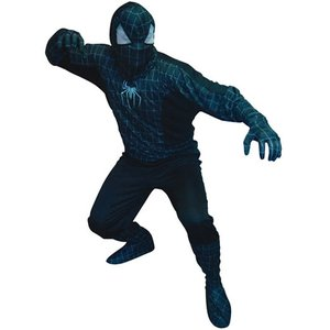 Spindelhjälte svart maskeraddräkt