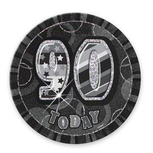 90-års födelsesdagsknapp svart - 15 cm