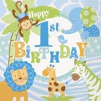 Servetter - 1st birthday blå safari 20 st