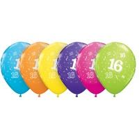 16-års födelsedagsballonger - blandade färger - 28 cm latex - 6 st