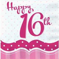 Servetter för 16-årsdagen rosa 2-lags - 18 st