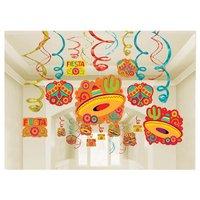 Fiesta Party hängande virvlar dekoration storpack - 30 st