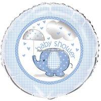 Ljusblå rund folieballong med söt elefant och paraply - till babyshowern - 46 cm