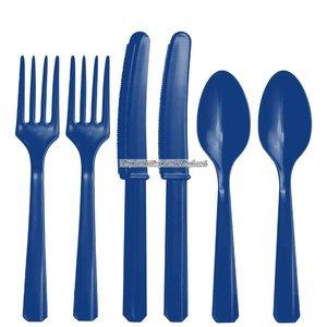 Mörkblå plastbestickset -kalaspaket - 24 delar - 24 st