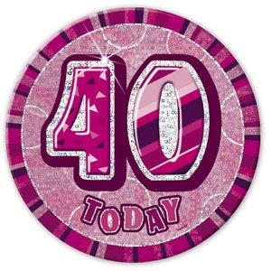 Rosa 40-års födelsedagsknapp 15 cm
