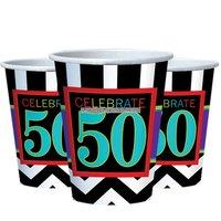 50-års födelsedag partymuggar i papper 255ml - 8 st
