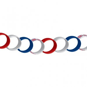 Röd, vit & blå brittisk pappersgirlang 7m - 100 st