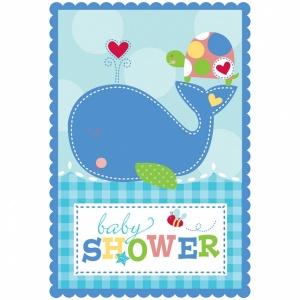 Baby shower blå - Inbjudningskort - 8 st