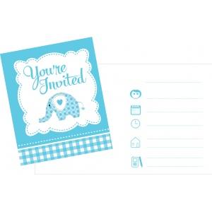 Söt blå babyelefant - inbjudningskort t - 8 st