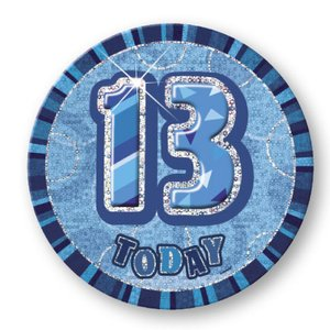 13-års födelsedagsemblem - blå - 15 cm