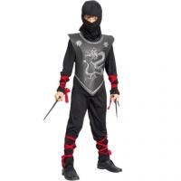 Ninja - maskeraddr�kt barn, svart med r�da band