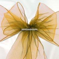 Guldfärgad stoldekoration i organza - 6 st