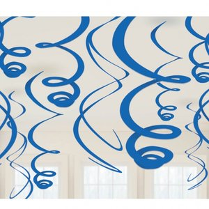 Kungsblå hängande virveldekorationer - 55cm - 12 st