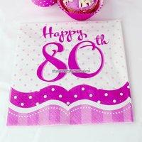 Rosa pappersservetter med prickar till 80-årsdagen 2-lagers - 18 st