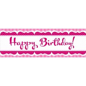 "Rosa banderoll ""Happybirthday"" - 152 cm"