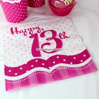 Servetter för 13-årsdagen rosa 2-lags - 18 st
