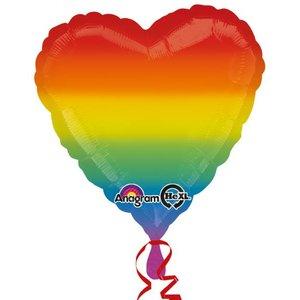 Folieballong - Rainbow Love Heart 45 cm