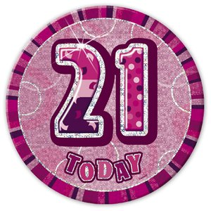 Rosa 21-års födelsedagsknapp 15 cm