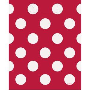 Röda prickiga kalaspåsar i plast - 8 st