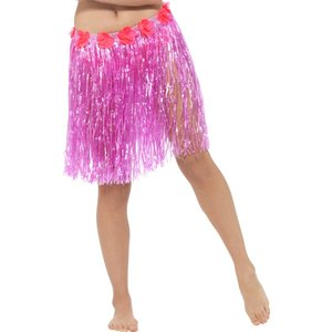 Hawaiian Hula Skirt with Flowers Neon Pink with Velcro Fastening &amp  Adjustable Waist Band
