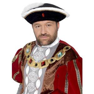 Henry VIII Hatt - Svat &amp  Vit