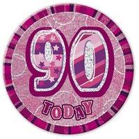 Rosa 90-års födelsesdagsknapp 15 cm
