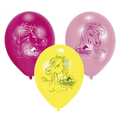 Charmerande hästar ballonger - 23 cm latex - 6 st