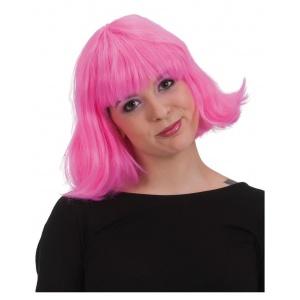Axellång peruk rosa