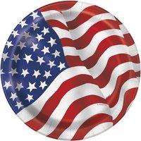 Tallrikar med USA:s flagga - 8 st