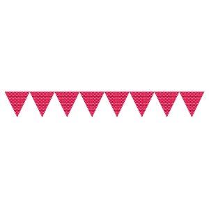Röda prickiga vimplar - papper 1.7m