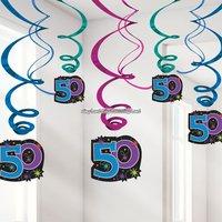 Hängande virvlar festdekoration till 50-årsdagen - The party continues 60 cm - 12 st