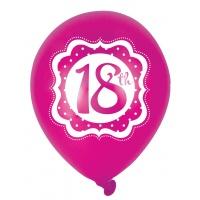 18-års födelsedagsballonger perfectly pink - 25 cm latex - 6 st