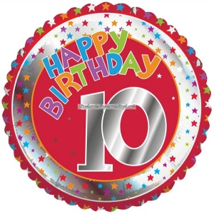 Röd och silvrig rund folieballong till 10-årsdagen - 46 cm