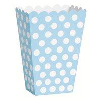 Ljusblå prickiga popcornbägare - 8 st