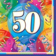 50-års servetter med ballonger 16 st